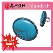 gros anneaux en pierre bleu turquoise fait main au crochet