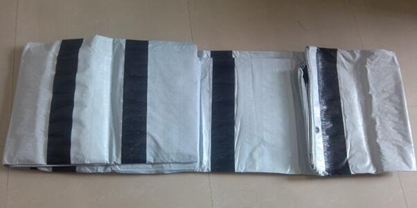 white PE tarpaulin with reinforced bands