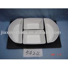 Loiça de porcelana com suporte de madeira JX-BS5824