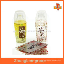Heat PVC plastic sleeve shrink wrap bottle label with custom print