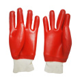 Red smooth pvc coated waterproof garden gloves