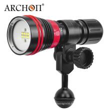 Nouvelle arrivée W32vr 5 mm Verre étiré Commutateur magnétique rotatif à une main pratique 2000 lumens Multifuntion Diving Video Light