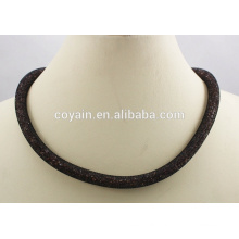 Black plated 316L stainless steel crystal Magnet stardust Mesh necklace