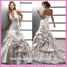 WD1193 livraison gratuite faite en Chine halter cristaux en perles rondes en satin robe de balle train 2015 dernières robes de mariée en mariée