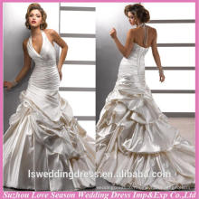WD1193 free shipping made in China halter crystals beaded waist ruched satin ball gown train 2015 latest bridal wedding gowns