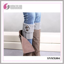 2015 Warm Button Decorate Knit Wool Leg Warmers Pies Calcetines
