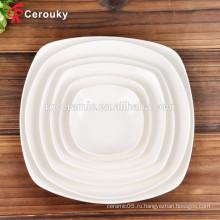 Фарфоровая тарелка с керамическим белым фарфором