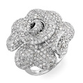 Big Flower CZ Diamond 925 Sterling Silver Ring Jewelry