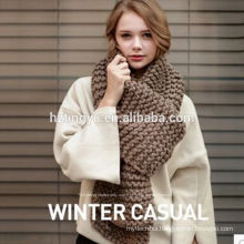 2017 New arrival lady winter long plain knitted scarf shawl Acrylic fibres knit infinity scarf for women