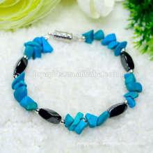 Magnetic twist stretch beads with gemstone turquoise chip bracelet charm gemstone bracelet