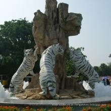 jardim ao ar livre decoração esculturas de pedra escultura em tigre de mármore