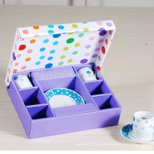 Clássico 12pcs cerâmica 90cc rodada xícara de café e pires na caixa de presente quadrado para BS120920D