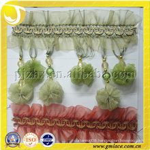 Green Curtain Organza Ribbon Pompom Fringe Trimming With For Curtain Lampshade Valances Tapestry