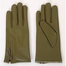 Леди молния мода овчины кожаные перчатки для вождения (YKY5167)