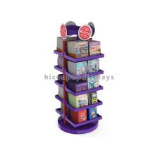 Merchandising Freestanding Book Store Förderung Holz Basis Metall 5-Layer Rotierende Display Regal