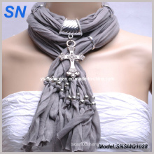 Fashion Scarf with Bronze Cross Pendant (SNSMQ1005)