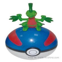 Venta caliente de dibujos animados de arte de trabajo de silicona de moda ronda PVC bola de plástico de juguete de animales