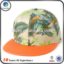 hawaiian floral print flat brim snapback cap
