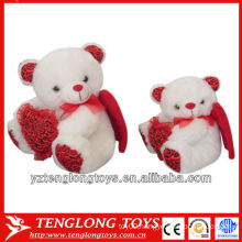 soft and cute plush bear toys with two wings for valentines day gifts