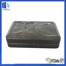 Caja de estaño de regalo con bisagras USB con relieve