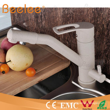 Contemporary Luxury Brass Filtration White Marble Kitchen Faucet Tap with Swivel Spout