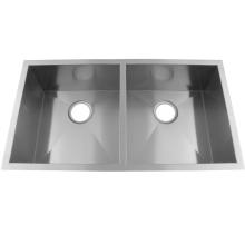 Handgemachte Doppelschalenspüle aus Edelstahl
