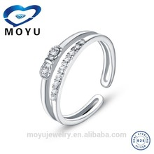 Korean platinum plated 925 solid silver fashion open ring