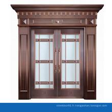 Design de luxe porte d'entrée de cuivre dépoli verre porte extérieure avec tête porte voûtée