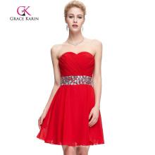 Grace Karin Strapless Red Beading Short Prom Dresses CL4792-1