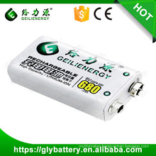 Geilienergy Rechargeable Li-ion 680mah 9V battery Pack
