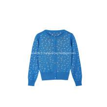Cardigan boutonné en tricot argenté pour fille