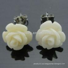 Forme a coral tallado los pendientes rosados EF-013 del perno prisionero de la flor de Rose
