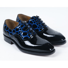 Dark Blue Genuine Leather Flat Mens Business Shoes (NX 426)