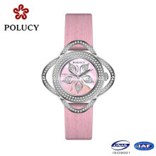 Round Stainless Steel Case Pink Leahter Strap Women Watches