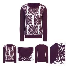 Purple Intarsia Women Fashion Sweater