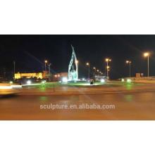Saudi arabia hand olive outdoor sculpture with light