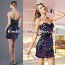 HC0103 Sexy balck strapless sweetheart neck sheath back low satin sash sleeveless knee length shiny sequins party evening gown