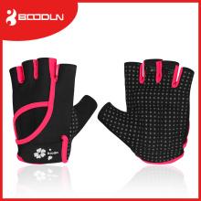 Luvas do esporte de Crossfit das meninas do dedo do body building de Microfiber com parte superior da aleta