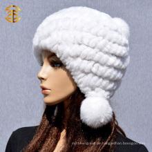 2015 Bunte Winter strickte Kaninchen Pelzmütze für Frauen