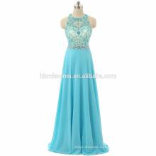 Новое прибытие пром платья светло-синий цвет один кусок девочки партии носить тяжелых бисером пол длина Сучжоу платье