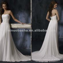 Les appliques élégantes sans bretelles garnissent une robe de mariée haute taille / robe de soirée