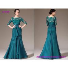Elegante Türkis-Spitze-Mutter der Braut-Kleider mit 3/4 langen Hülsen-bloßen Ansatz und plus Größe formale Partei-Kleider