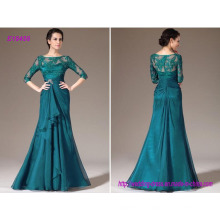 Elegant Turquoise Lace Mother of The Bride Dresses with 3/4 Long Sleeves Sheer Neck and Plus Size Formal Party Gowns