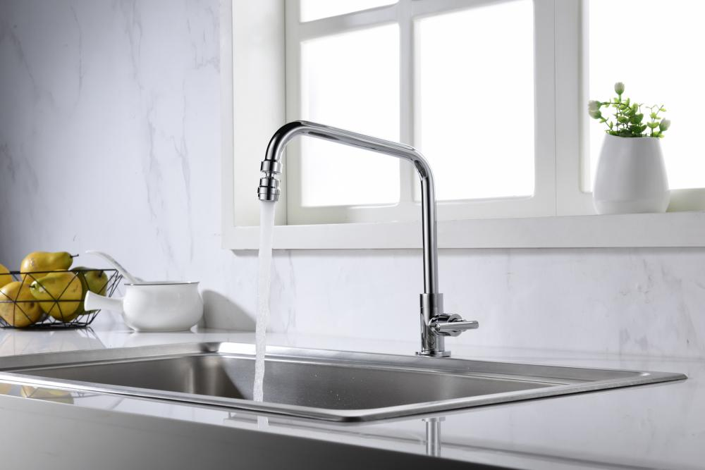 Single cold kitchen faucet with rotatable water outlet