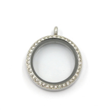 30mm Stainless Steel Round Crystal Jewelry Living Charms Locket
