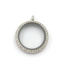 30мм нержавеющая сталь Круглый кристалл ювелирных изделий Живые обереги Locket