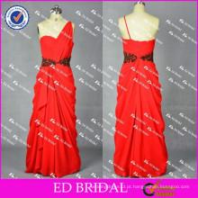 ED Bridal Charming Real Sample One Shoulder Zipper A Line Red Chiffon Long Evening Dress 2017