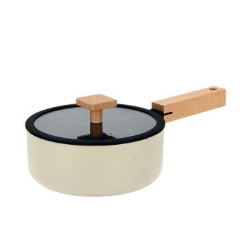 Aluminum nonstick milk pan Cream coloured wooden handle sauce pan milk