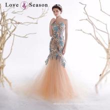 OB96350 lace appliques bead pattern lace train mermaid back pattern evening dress