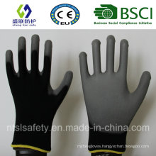 13G Black Polyester with Gary PU Coating Safety Gloves (SL-PU206(13G))